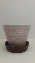 Bruine  hangpot met grove structuur / Brown hanging planter with coarse relief