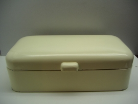 Grote emaille broodtrommel in crème wit 35 cm.