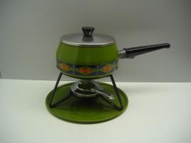 Fondue emaille groen retro / Fondue enamel green retro