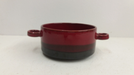 Donker bruin en rood  soepkom 11 cm. / Dark brown and red soup bowl 4.3 inch.