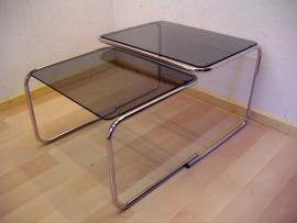 2 bijzettafels chroom/rookglas 2 sidetables chrome/smokey glass