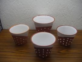 Setje potten terra met witte glazuur / set planters in terra and white glace