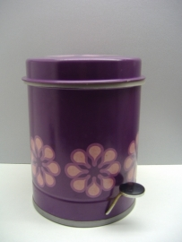 Brabantia prullenbak in paars met bloemen / Trashbin in purple with flowers.