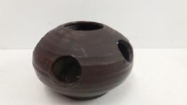 Waxine licht houder in bruin van Jan de Graaf / Waxine holder in brown by Jan de Graaf