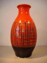 Vloervaas in oranje en goud 40 cm. / Floorvase orange an gold 15.7 inch.