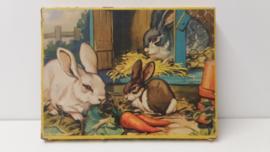 Jig-saw puzzel met konijnen 21 x 28.5 cm. / Jig-saw puzzle with rabits 8.2 x 11.2