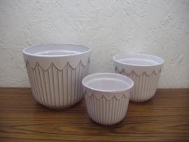 Mooie set 3 potten in wit / Lovely set 3 planters