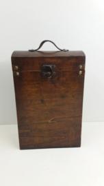 Luxe wijnkoffer met lederen sluiting  / Luxury wine case with leather closure