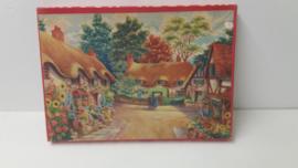 Wooden jig-saw  puzzel landhuizen met bloementuinen 25 x 36 cm.
