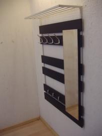 Wandkapstok chromen haken en spiegel / Wall coatrack chrome hooks and a mirror