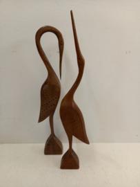 2 houten reigers 40 cm. / 2 wooden herons 15.74 inch.