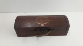Luxe wijnkoffer met lederen handvat  / Luxury wine case with leather handle