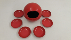 Pindaset in rood melamine 6 cups / Peanut set in red melamine 6 cups