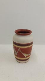 Sawa klein vaasje met bruin en geel / Sawa little vase with brown and yellow