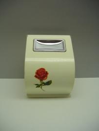 Toilet rolhouder in wit met een roos.