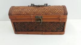 Luxe rotan wijnkoffer met handvat  / Luxury rattan wine case with handle