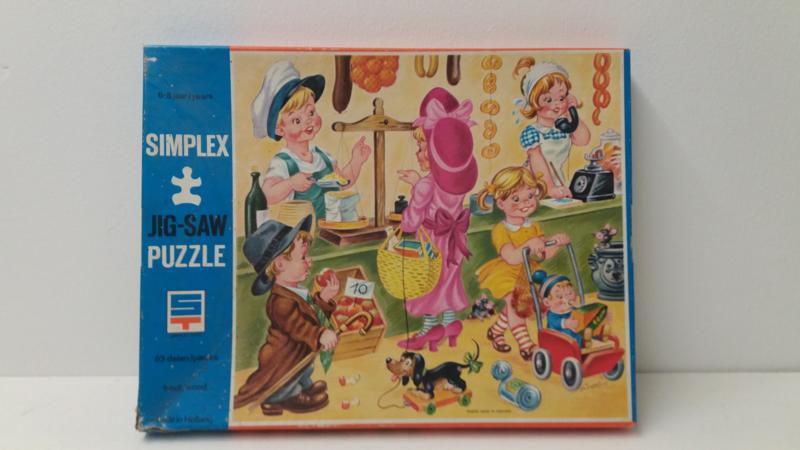 Simplex Jig-saw puzzel Michaëlis spelende kinderen 26 x 27.5 cm.