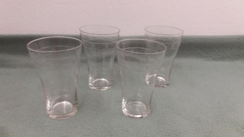 Setje van 4 geslepen glaasjes /  Set of 4 cut glasses