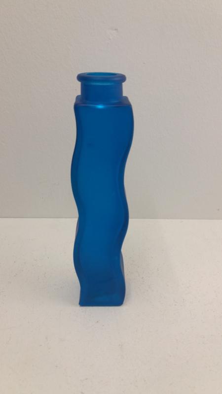 Ikea kaarsenstandaard glas fles blauw / Ikea candle stand glass blue