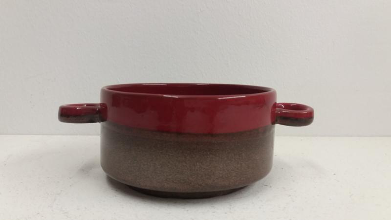 Metallic en rood  soepkom 11 cm. / Metallic and red soup bowl 4.3 inch.