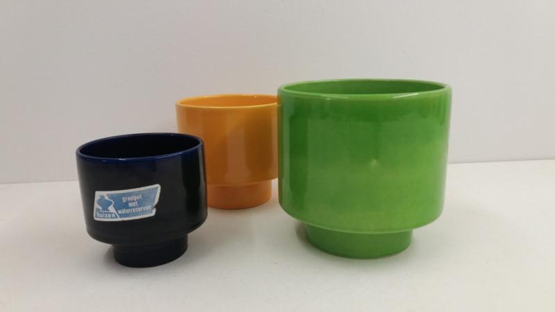 3x Huizen keramiek geel blauw en groen / 3x Huizen ceramics yellow blue and green