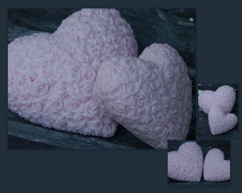 Dikke harten met roosjes mallen in 2 maten