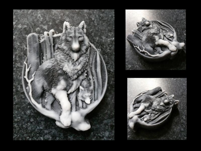 Wolf met jong mal