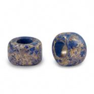 Keramiek kralen blauw donker gold spot 9x5 mm Grieks DQ