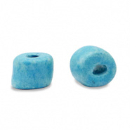 Keramiek kralen blauw aquamarine 5x4 mm Grieks DQ