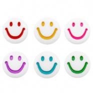 Letterkraal smiley wit mix multicolor 7 mm