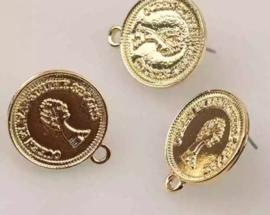 Oorstekers goudkleurig munt