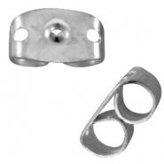 Oorbel stopper zilver 25 stuks RVS donker
