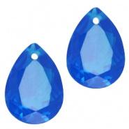 Druppelvorm hanger blauw capri donker