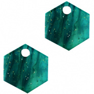 Resin hanger hexagon 14x12 mm groen ocean