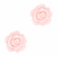 Bloem kraal roze peachskin roosje 10 mm