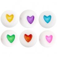 Acryl kraal wit met gekleurd hartje 50 stuks