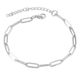 Armband 18 cm zilver RVS schakelarmband