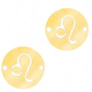 Bedel / tussenstuk sterrenbeeld Leeuw goudkleurig RVS