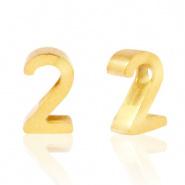 Cijferkraal 2 goudkleurig RVS