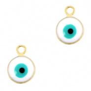 Bedel evil eye wit goudkleurig 6 mm