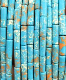 Natuursteen kralen tubes blauw lake