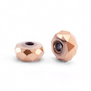 Kraal rosé gold facet disc 4x2 mm hematite
