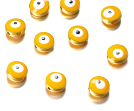Evil eye kralen geel 10,5x5,9 mm goudkleurig