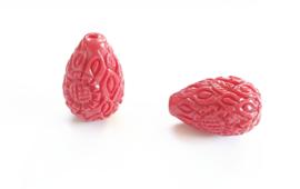 Koraal kraal bloem druppel carved rood