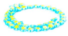 Millefiori kralen bloem blauw geel 10 mm disc