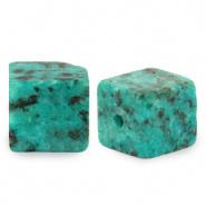 Natuursteen kralen square blauw ocean 4 mm