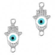 Bedel evil eye hamsa hand blauw licht zilver DQ connector