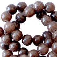 Kraal bruin donker 8 mm natuursteen 10 stuks