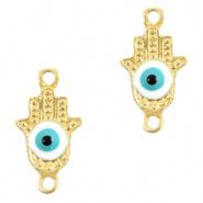 Bedel evil eye hamsa hand blauw licht goud DQ connector