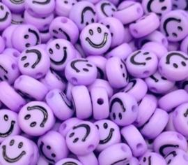 Letterkraal smiley paars 7 mm